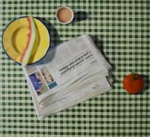 Morning News. 80cm x 80cm, oil on linen.