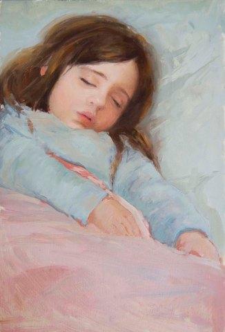 Winnie Sleeping. Oil on Board. 20cm x 25cm