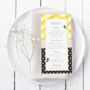 Printable Bumble Bee Honeycomb & Dots Menu Card