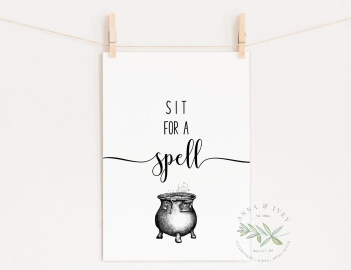 """""""Sit for a Spell"""" Printable Halloween Art"""