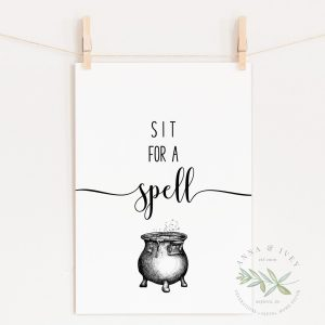 """Sit for a Spell"" Printable Halloween Art"