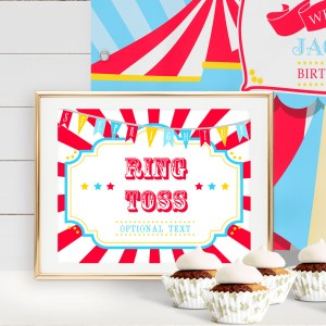 Printable Circus/Carnival Game Sign- Bright Red