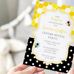 Printable Bumble Bee Honeycomb & Dots Invitation- Gender Reveal