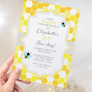 Printable Bumble Bee Honeycomb Invitation- Birthday