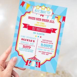 Printable Circus/Carnival Invitation- Bright Blue