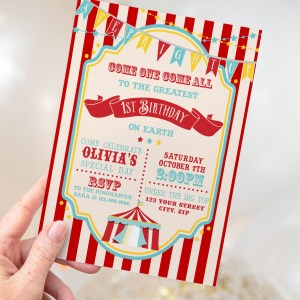 Printable Dark Red Circus/Carnival Invitation- Red Stripe