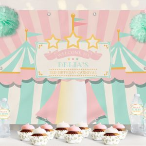 Printable Circus/Carnival Backdrop- Pink & Mint- 4 x 6