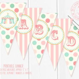Printable Pink Circus/Carnival Banner