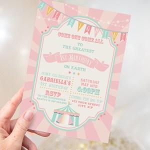 Printable Pink & Mint Circus/Carnival Invitation- Pink Sunburst