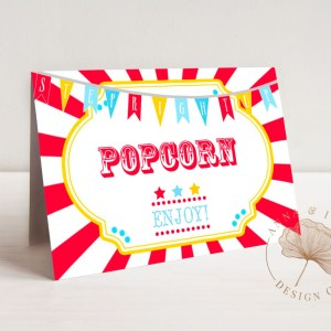 Printable Circus or Carnival Buffet/Food/Place Cards- Bright Red