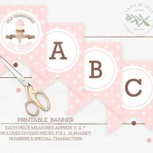 Printable Ice Cream Party Banner- Dots