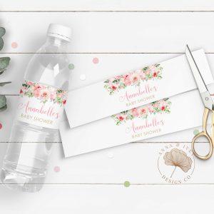 Printable Pink Floral Drink Labels