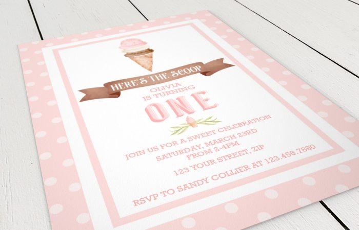 Printable Ice Cream Party Invitation- Polka Dots