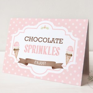 Printable Ice Cream Party Buffet/Place Cards- Dots