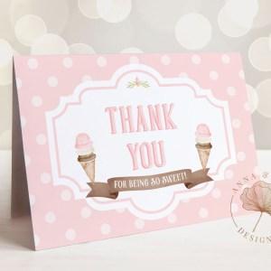 Printable Ice Cream Thank You Card- Dots