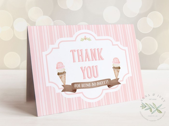 Printable Ice Cream Party Thank You Card- Stripes