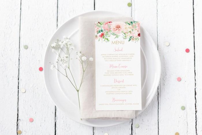 Printable Menu Cards- Pink Floral