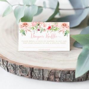 Pink Floral Diaper Raffle Card