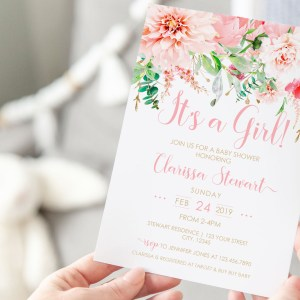 Printable Pink Floral It's a Girl Invitation