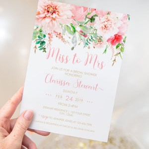 Printable Pink Floral Miss to Mrs Invitation