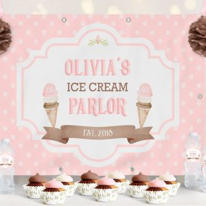 Ice Cream Backdrop- Polka Dots- 4 x 6