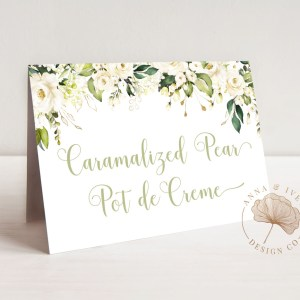 Printable Buffet/Food/Place Cards- White Floral