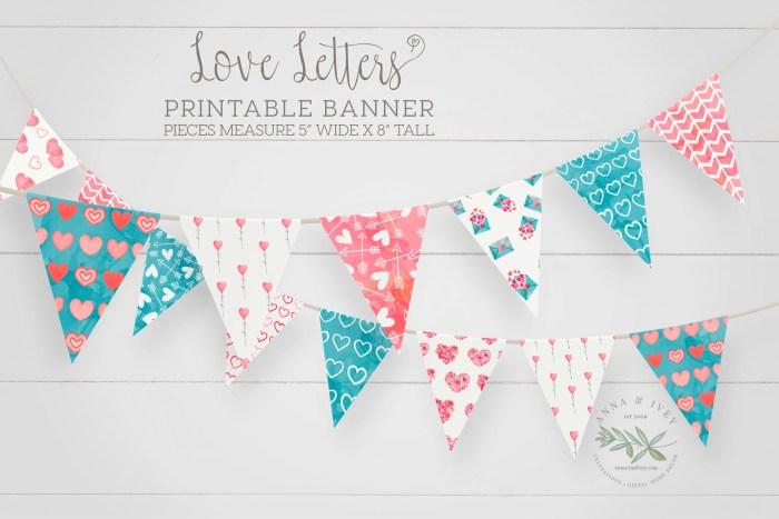 Printable Love Letters Valentine Banner