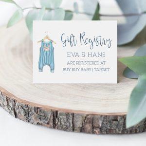 Printable Gift Registry Card- Blue Onesie