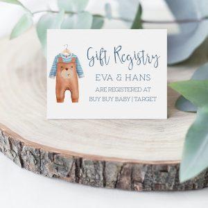 Printable Gift Registry Card- Brown Onesie