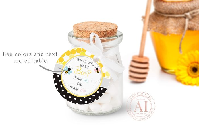 """Printable Bumble Bee Small Round Labels/Tags- Honeycomb & Dots- 1 1/2"""" & 2 1/2"""""""