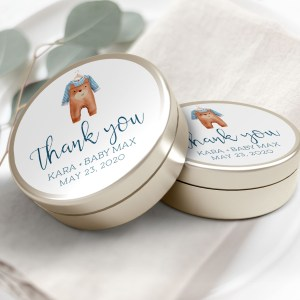 """Printable Brown Onesie Thank You Labels/Tags- 3"""" Inch"""