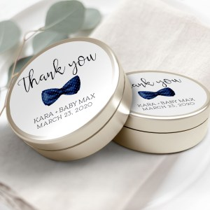 """Printable Navy Bow Tie Thank You Labels/Tags- 3"""" Inch"""