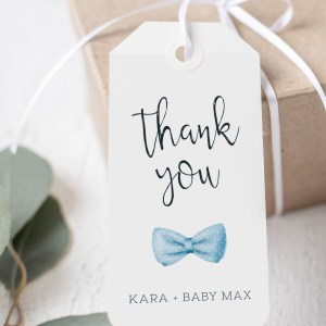 Printable Thank You Tags- Light Blue Bow Tie