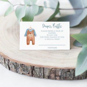 Printable Diaper Raffle Card- Brown Onesie