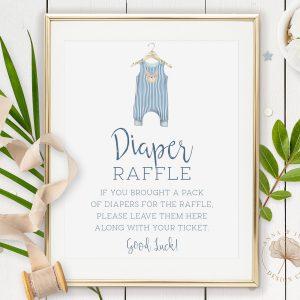 Printable Diaper Raffle Sign- Blue Onesie