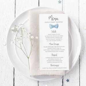 Printable Baby Shower Menu Cards- Light Blue Bow Tie