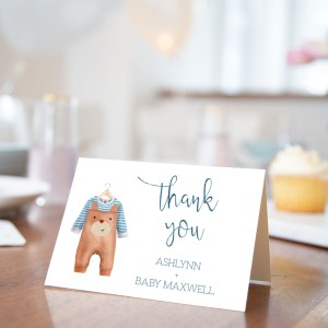 Printable Baby Shower Thank You Card- Brown Onesie