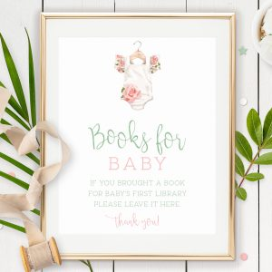 Printable Books for Baby Sign- Floral Onesie