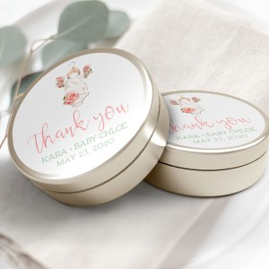 """Printable Floral Onesie Thank You Labels/Tags- 3"""" Inch"""