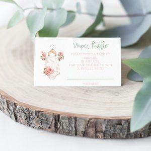 Printable Diaper Raffle Card- Floral Onesie