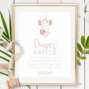Printable Diaper Raffle Sign- Floral Onesie