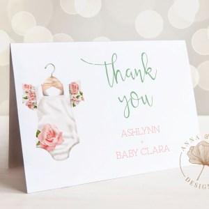 Printable Thank You Card- Floral Onesie
