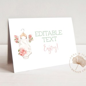 Printable Floral Onesie Buffet/Place Cards