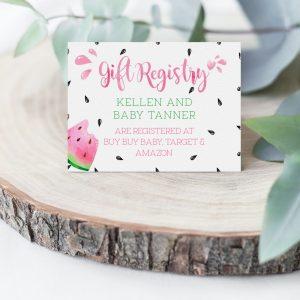 Printable Watermelon Gift Registry Card