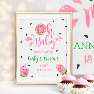 Printable Watermelon Baby Shower Welcome Sign