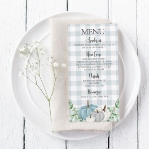 Printable Grey Plaid with Blue Pumpkins Menu Card