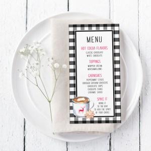 Printable Rae Dunn Inspired Hot Cocoa Menu Card