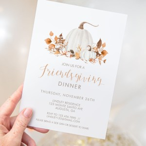 Printable Ivory Pumpkins Friendsgiving Invitation