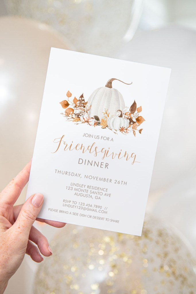 Printable Ivory Pumpkins Friendsgiving Invitation