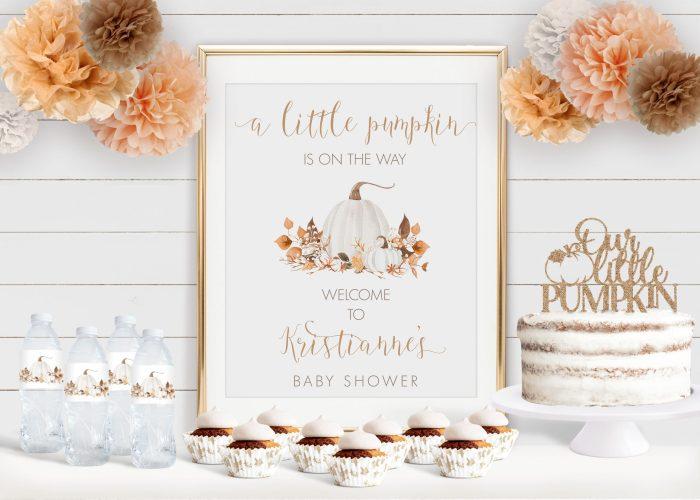 Printable Ivory Pumpkins Baby Shower Poster